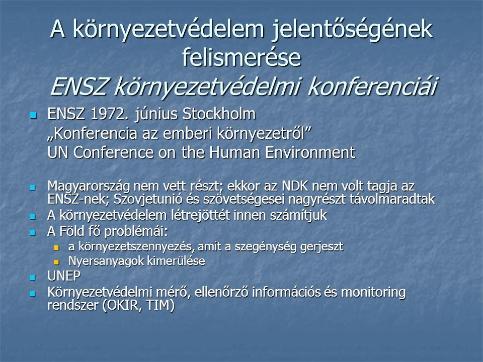 """A környezetvédelem jelentőségének felismerése ENSZ környezetvédelmi konferenciái ENSZ 1972. június Stockholm ENSZ 1972. június Stockholm """"Konferencia"""