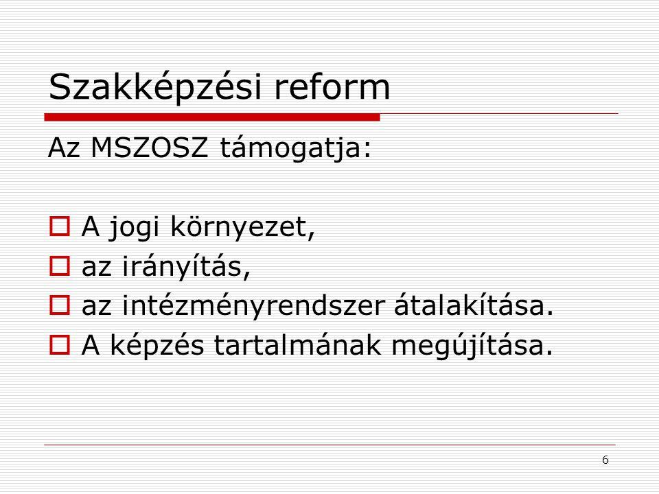 Szakképzési reform Az MSZOSZ támogatja:  A jogi környezet,  az irányítás,  az intézményrendszer átalakítása.