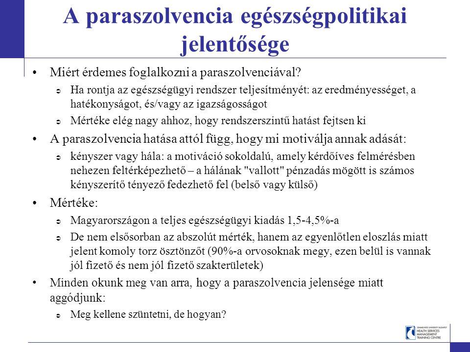 A paraszolvencia egészségpolitikai jelentősége Miért érdemes foglalkozni a paraszolvenciával.