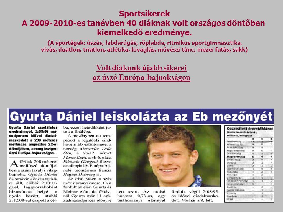 Sportsikerek A 2009-2010-es tanévben 40 diáknak volt országos döntőben kiemelkedő eredménye.