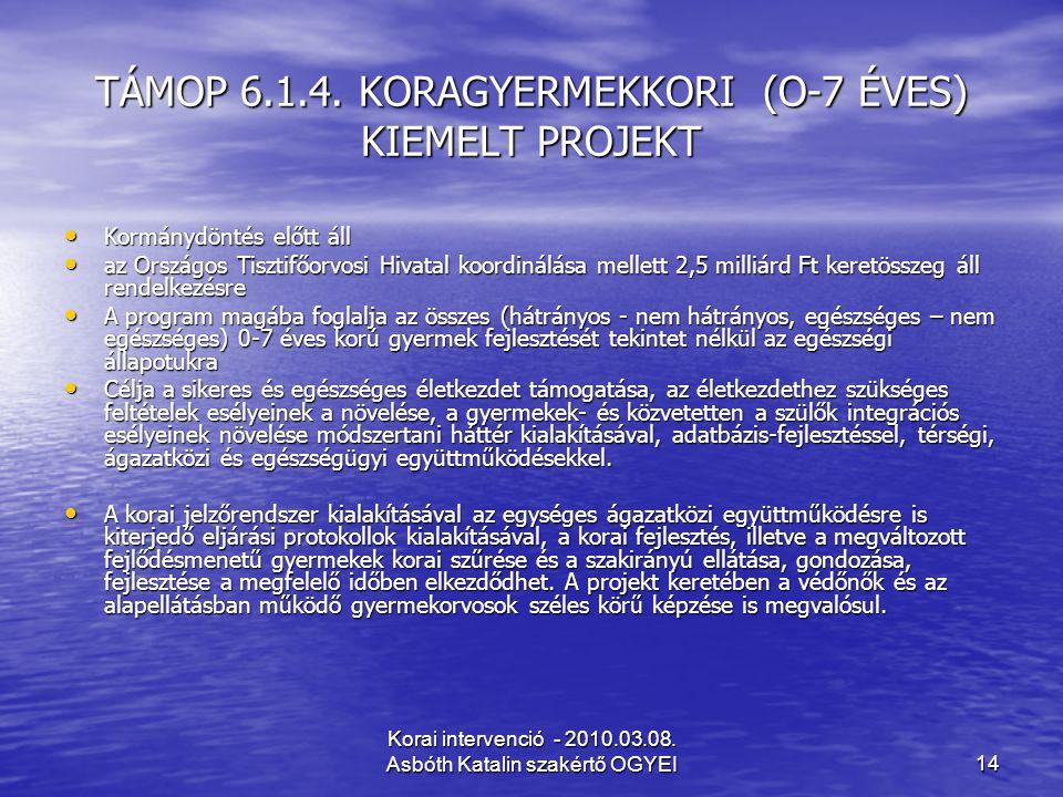 Korai intervenció - 2010.03.08. Asbóth Katalin szakértő OGYEI14 TÁMOP 6.1.4. KORAGYERMEKKORI (O-7 ÉVES) KIEMELT PROJEKT Kormánydöntés előtt áll Kormán