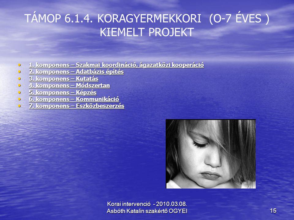 Korai intervenció - 2010.03.08.Asbóth Katalin szakértő OGYEI15 TÁMOP 6.1.4.