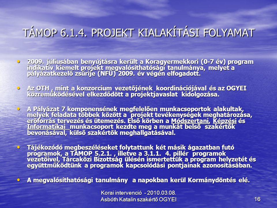 Korai intervenció - 2010.03.08. Asbóth Katalin szakértő OGYEI16 TÁMOP 6.1.4. PROJEKT KIALAKÍTÁSI FOLYAMAT 2009. júliusában benyújtásra került a Koragy