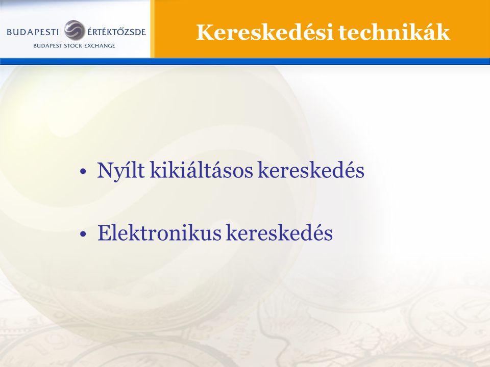 Nyílt kikiáltásos kereskedés Elektronikus kereskedés Kereskedési technikák