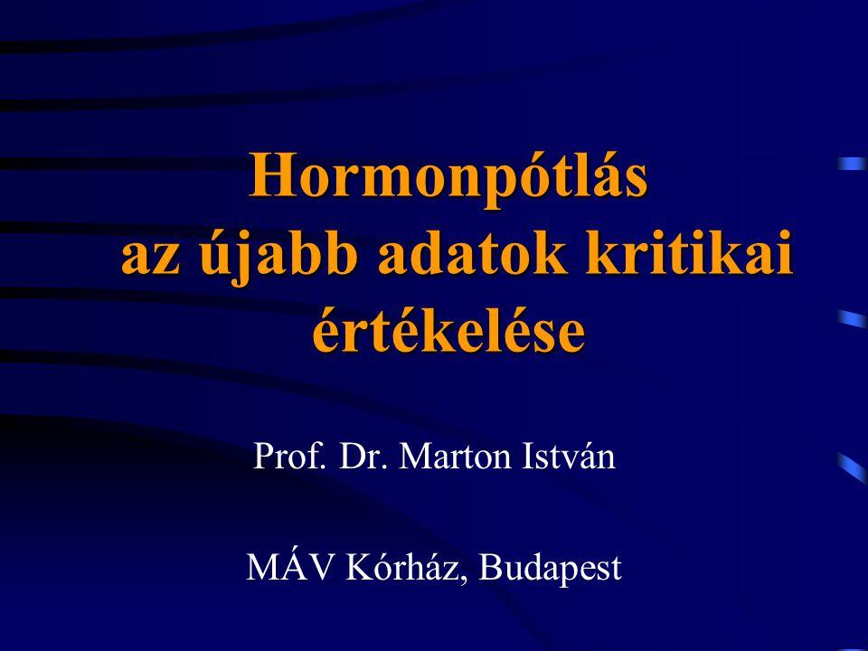 Hormonpótlás az újabb adatok kritikai értékelése Prof. Dr. Marton István MÁV Kórház, Budapest