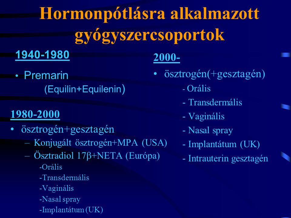 Hormonpótlásra alkalmazott gyógyszercsoportok 1980-2000 ösztrogén+gesztagén –Konjugált ösztrogén+MPA (USA) –Ösztradiol 17  +NETA (Európa) - Orális -Transdermális -Vaginális -Nasal spray -Implantátum (UK) 2000- ösztrogén(+gesztagén) - Orális - Transdermális - Vaginális - Nasal spray - Implantátum (UK) - Intrauterin gesztagén 1940-1980 Premarin (Equilin+Equilenin )