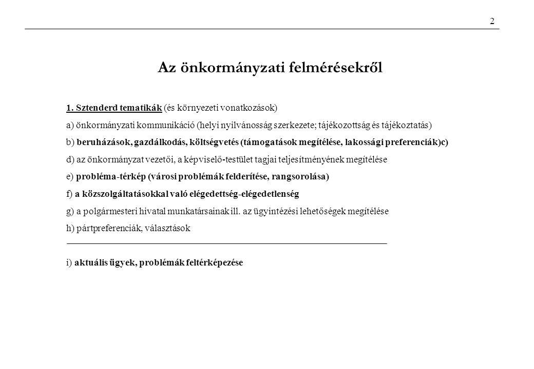 1. Sztenderd tematikák (és környezeti vonatkozások) a) önkormányzati kommunikáció (helyi nyilvánosság szerkezete; tájékozottság és tájékoztatás) b) be