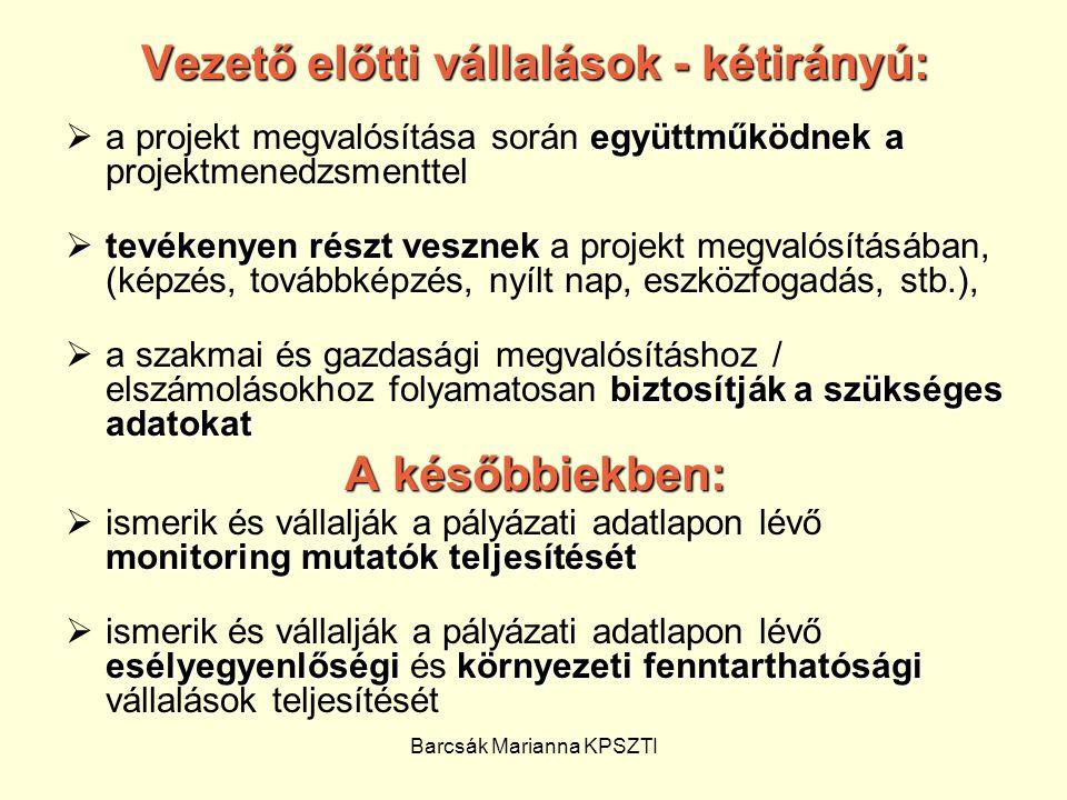 Barcsák Marianna KPSZTI Vezető előtti vállalások - kétirányú: együttműködnek a  a projekt megvalósítása során együttműködnek a projektmenedzsmenttel