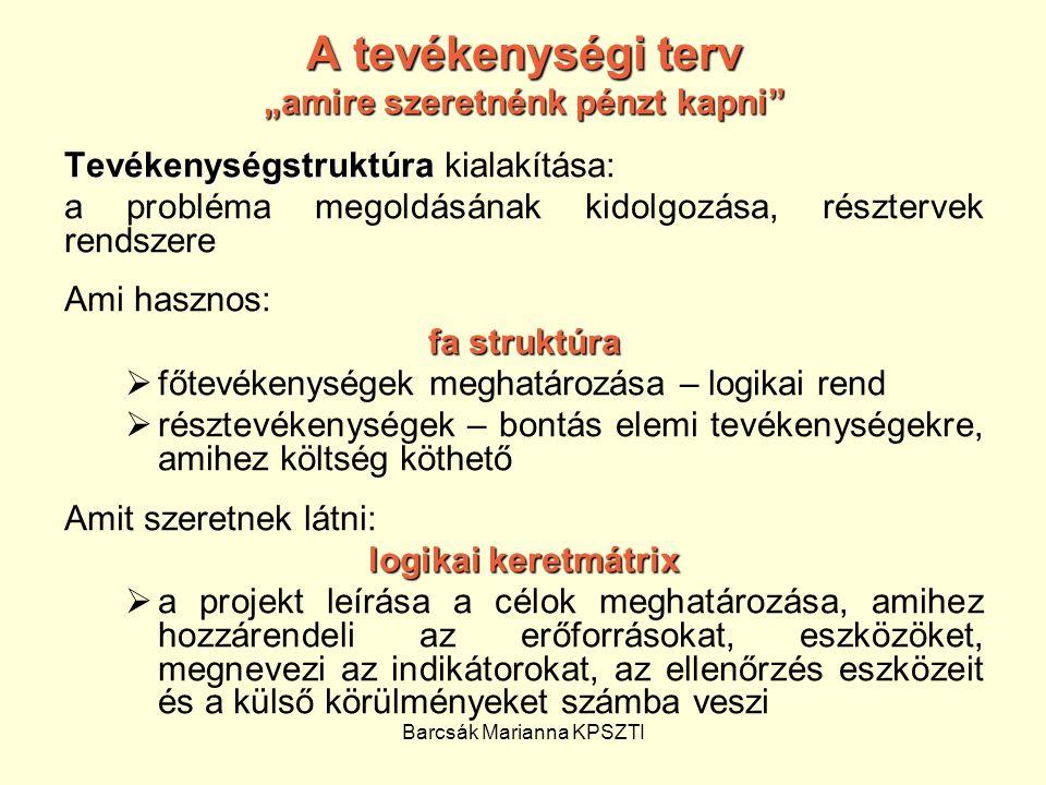"""Barcsák Marianna KPSZTI A tevékenységi terv """"amire szeretnénk pénzt kapni"""" Tevékenységstruktúra Tevékenységstruktúra kialakítása: a probléma megoldásá"""