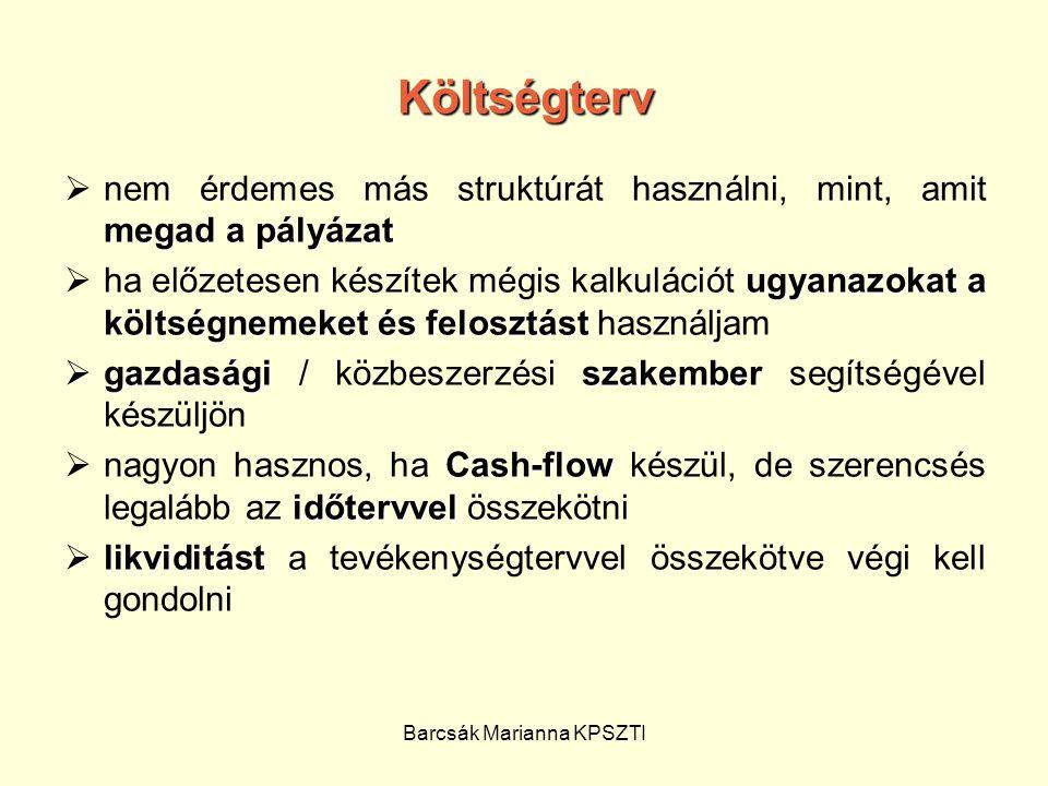 Barcsák Marianna KPSZTI Költségterv megad a pályázat  nem érdemes más struktúrát használni, mint, amit megad a pályázat ugyanazokat a költségnemeket