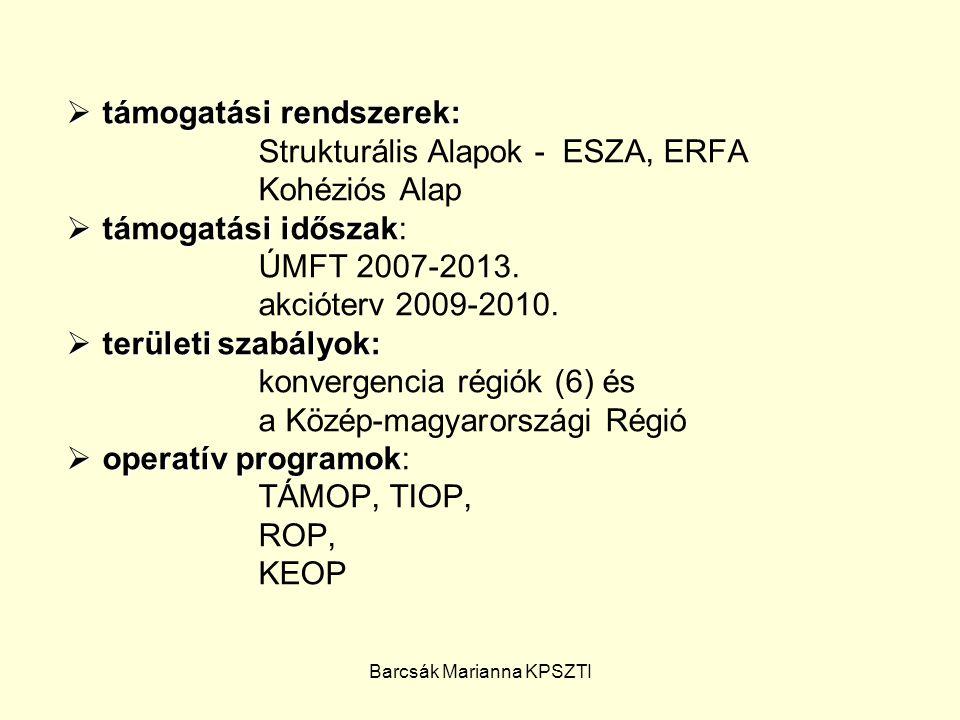 Barcsák Marianna KPSZTI  irányító hatóság: NFÜ  közreműködő szervezet: ESZA Társadalmi Szolgáltató Non-profit Kft., Oktatási és Kulturális Minisztérium Támogatáskezelő Igazgatósága  támogatástípusok  támogatástípusok: NFÜ 1/ NFÜ pályázatot ír ki, formai-szakmai bírálat támogatás az érkezés után támogatás az érkezés sorrendjében köt szerződést (50 m alatt) NFÜ 2/ NFÜ pályázatot ír ki, formai-szakmai nyertesek bírálat után nyertesek megnevezése (1 vagy 2 fordulós, 50 m alatt egyszerűsített eljárás) 3/ önkormányzat, különféle szervezetek által kezelt alapok (pl.