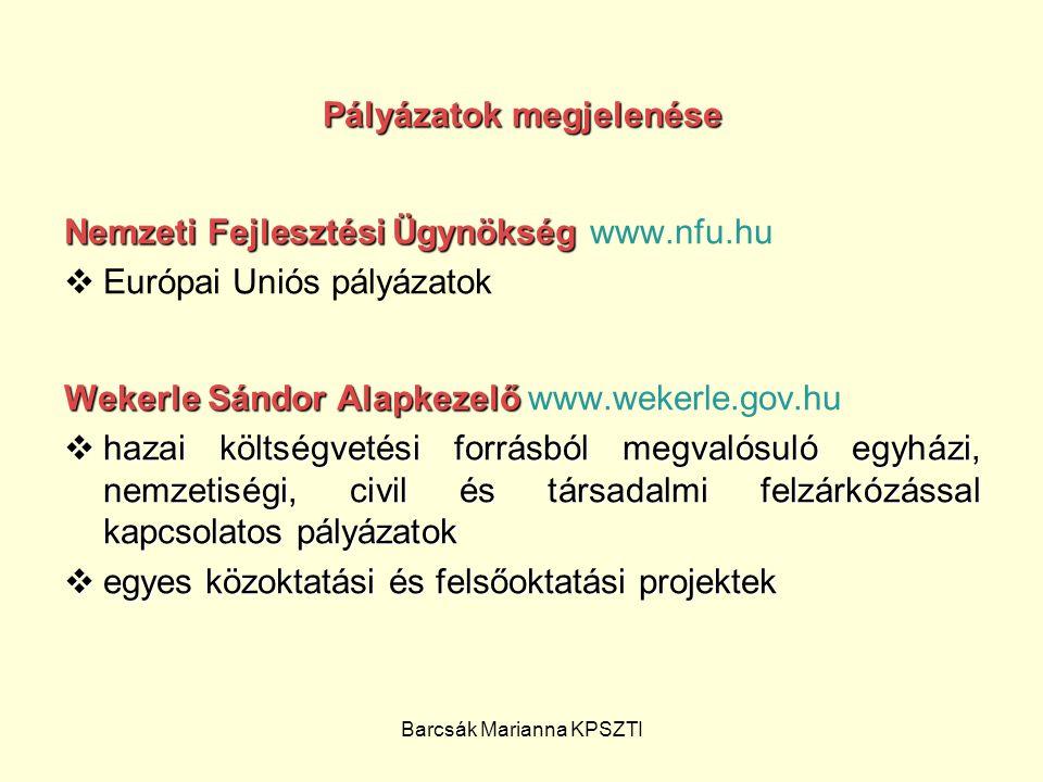 Barcsák Marianna KPSZTI Pályázatok megjelenése Nemzeti Fejlesztési Ügynökség Nemzeti Fejlesztési Ügynökség www.nfu.hu  Európai Uniós pályázatok Weker