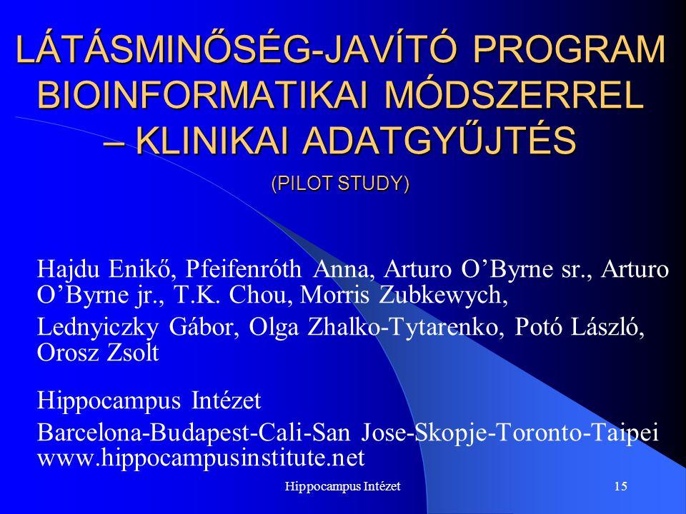 Hippocampus Intézet15 LÁTÁSMINŐSÉG-JAVÍTÓ PROGRAM BIOINFORMATIKAI MÓDSZERREL – KLINIKAI ADATGYŰJTÉS (PILOT STUDY) Hajdu Enikő, Pfeifenróth Anna, Artur