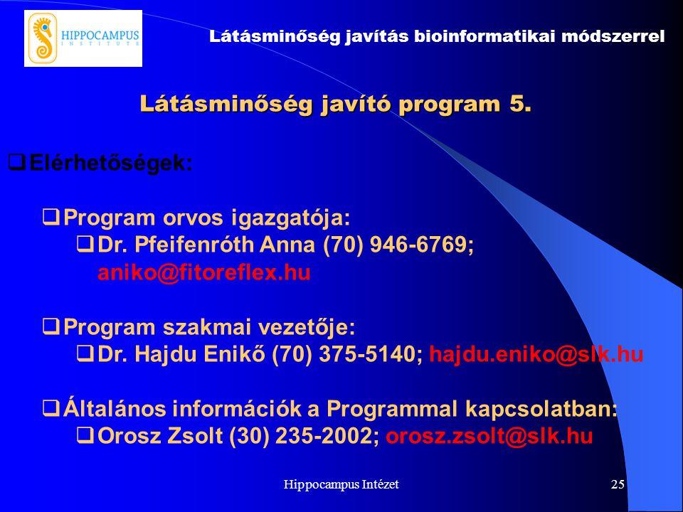 Hippocampus Intézet25 Látásminőség javító program 5. Látásminőség javítás bioinformatikai módszerrel  Elérhetőségek:  Program orvos igazgatója:  Dr