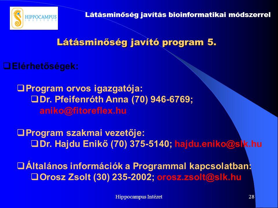 Hippocampus Intézet28 Látásminőség javító program 5. Látásminőség javítás bioinformatikai módszerrel  Elérhetőségek:  Program orvos igazgatója:  Dr