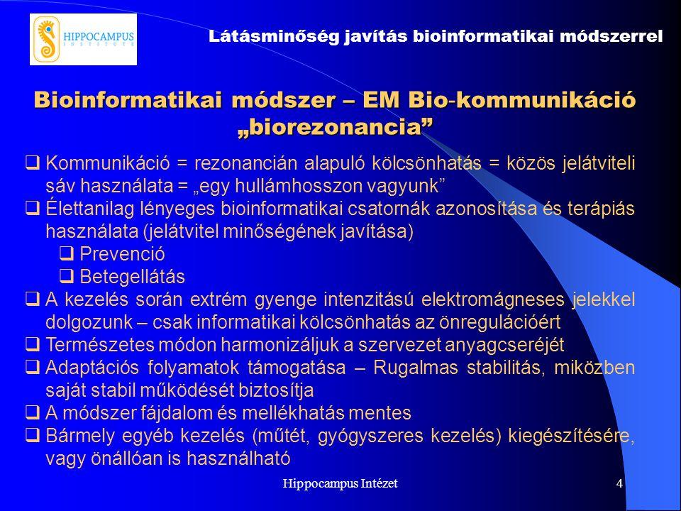 """Hippocampus Intézet4 Bioinformatikai módszer – EM Bio - kommunikáció """"biorezonancia"""" Látásminőség javítás bioinformatikai módszerrel  Kommunikáció ="""