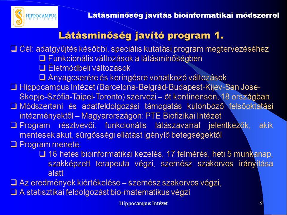Hippocampus Intézet5 Látásminőség javító program 1. Látásminőség javítás bioinformatikai módszerrel  Cél: adatgyűjtés későbbi, speciális kutatási pro
