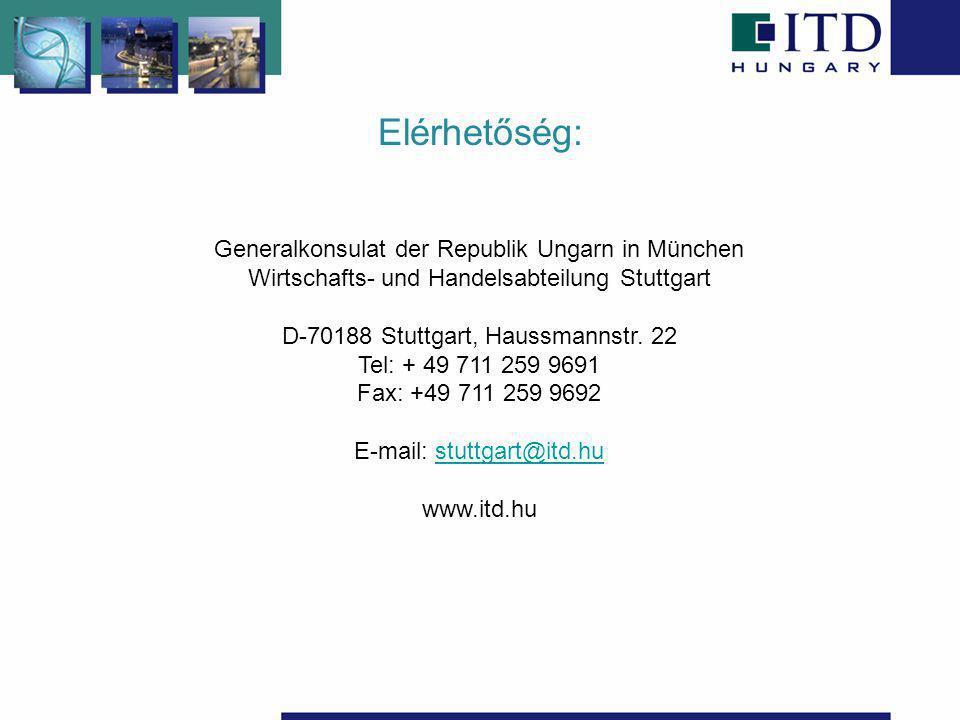 Elérhetőség: Generalkonsulat der Republik Ungarn in München Wirtschafts- und Handelsabteilung Stuttgart D-70188 Stuttgart, Haussmannstr. 22 Tel: + 49