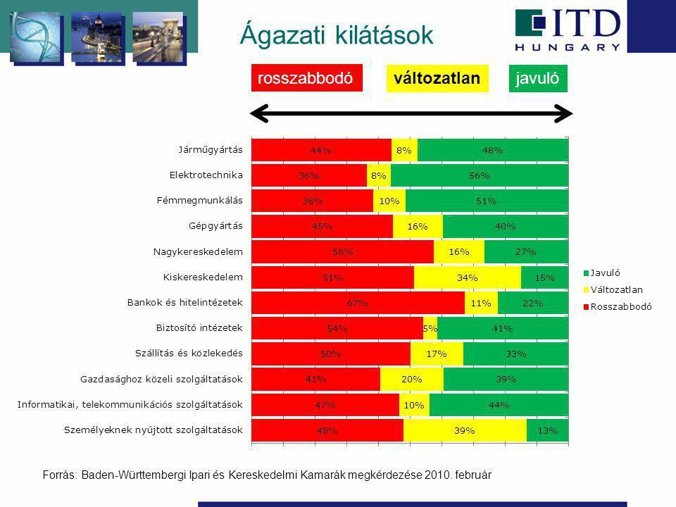 Ágazati kilátások rosszabbodó javulóváltozatlan Forrás: Baden-Württembergi Ipari és Kereskedelmi Kamarák megkérdezése 2010.