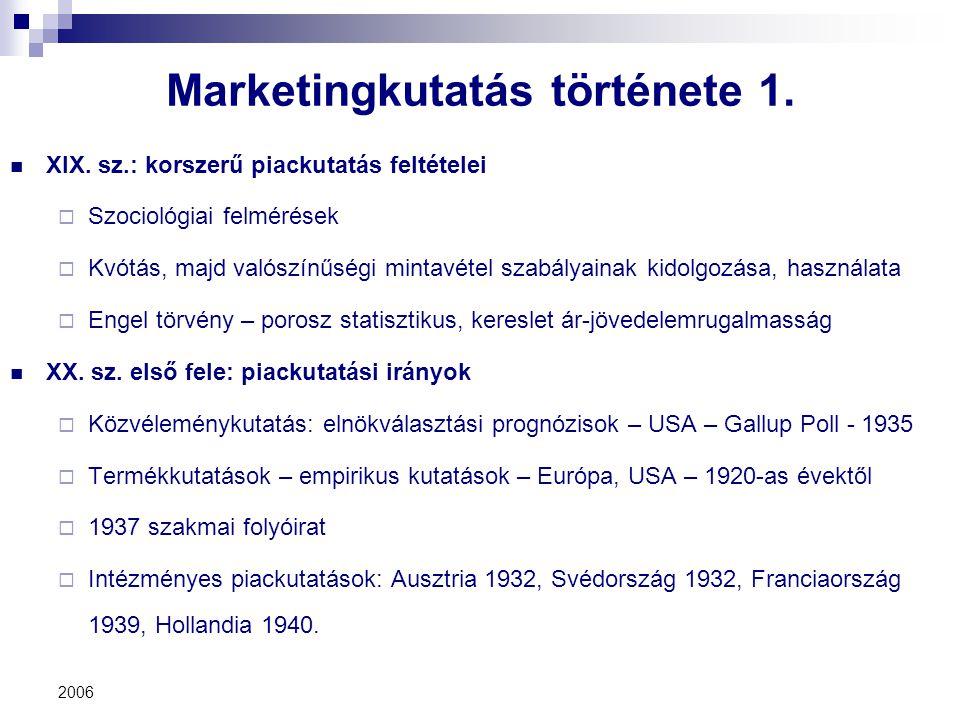 2006 Marketingkutatás története 1. XIX. sz.: korszerű piackutatás feltételei  Szociológiai felmérések  Kvótás, majd valószínűségi mintavétel szabály