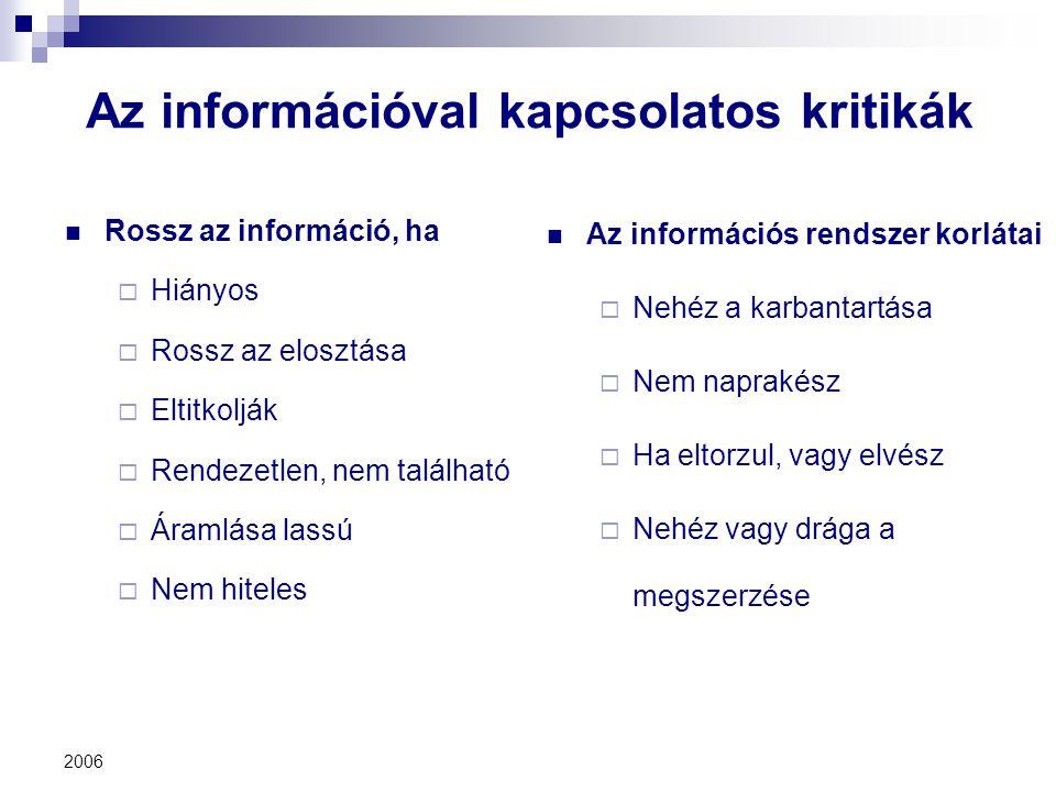 2006 Az információval kapcsolatos kritikák Rossz az információ, ha  Hiányos  Rossz az elosztása  Eltitkolják  Rendezetlen, nem található  Áramlás