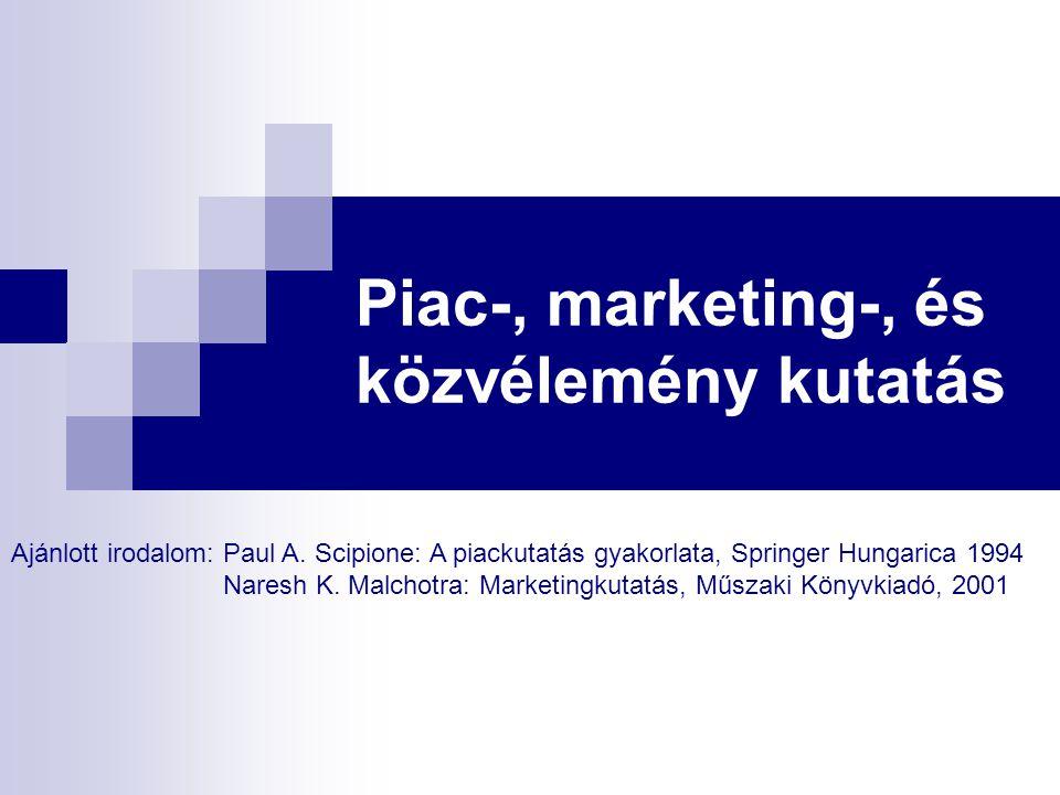 Piac-, marketing-, és közvélemény kutatás Ajánlott irodalom: Paul A. Scipione: A piackutatás gyakorlata, Springer Hungarica 1994 Naresh K. Malchotra: