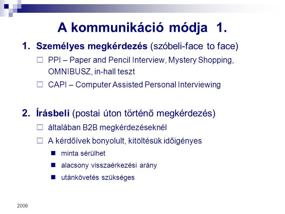 2006 A kommunikáció módja 1. 1. Személyes megkérdezés (szóbeli-face to face)  PPI – Paper and Pencil Interview, Mystery Shopping, OMNIBUSZ, in-hall t