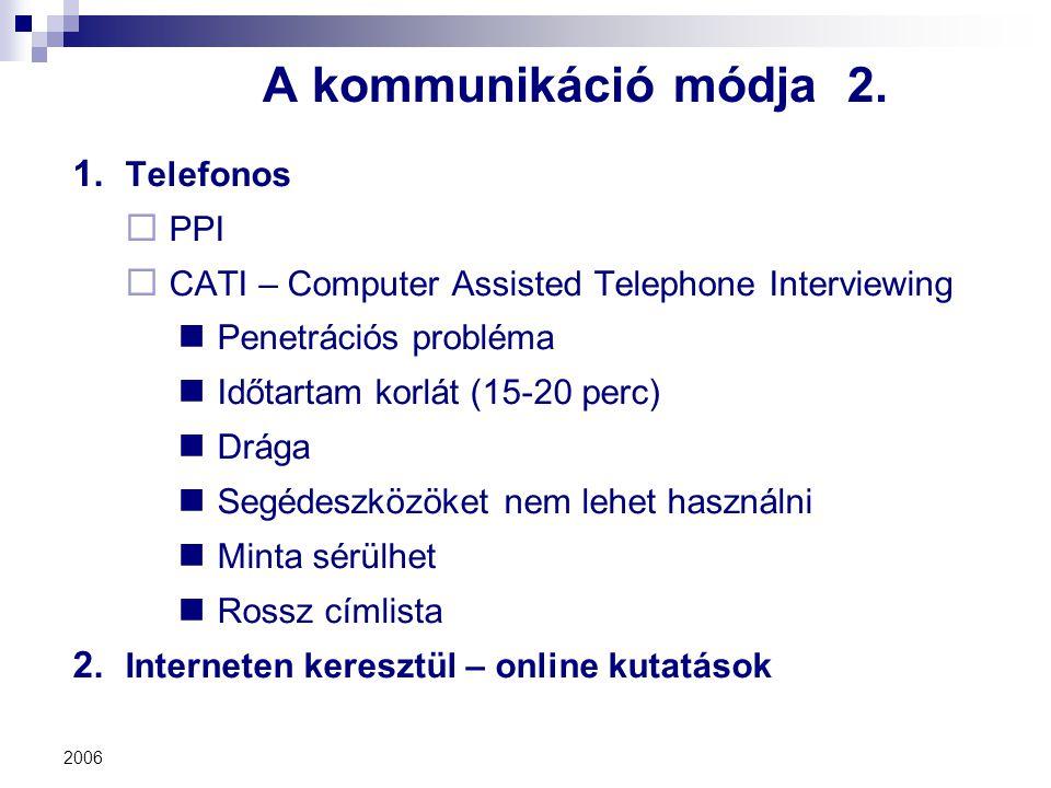 2006 A kommunikáció módja 2. 1. Telefonos  PPI  CATI – Computer Assisted Telephone Interviewing Penetrációs probléma Időtartam korlát (15-20 perc) D