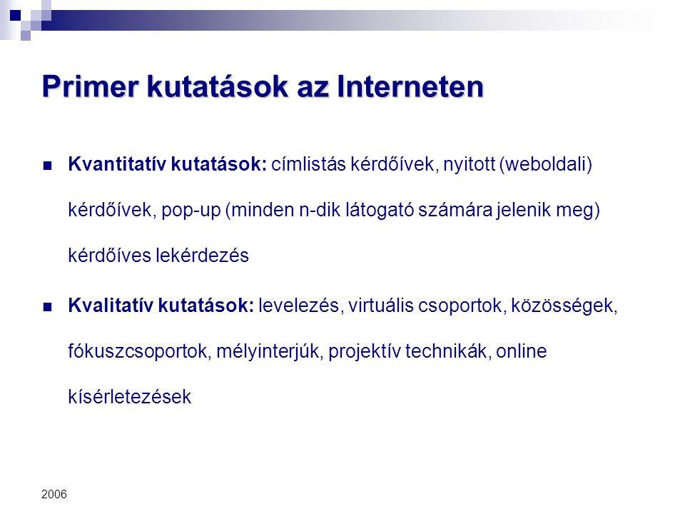 2006 Primer kutatások az Interneten Kvantitatív kutatások: címlistás kérdőívek, nyitott (weboldali) kérdőívek, pop-up (minden n-dik látogató számára j