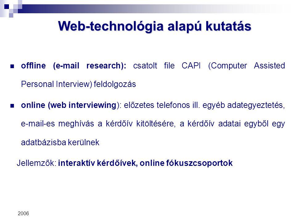 2006 Web-technológia alapú kutatás offline (e-mail research): csatolt file CAPI (Computer Assisted Personal Interview) feldolgozás online (web intervi