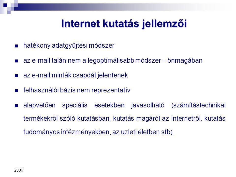 2006 Internet kutatás jellemzői hatékony adatgyűjtési módszer az e-mail talán nem a legoptimálisabb módszer – önmagában az e-mail minták csapdát jelen