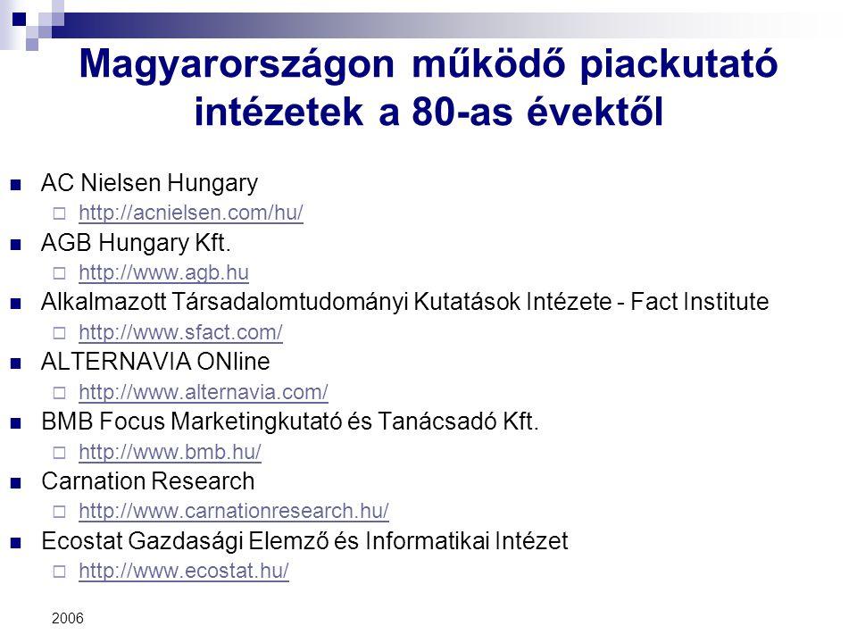 2006 Magyarországon működő piackutató intézetek a 80-as évektől AC Nielsen Hungary  http://acnielsen.com/hu/ http://acnielsen.com/hu/ AGB Hungary Kft