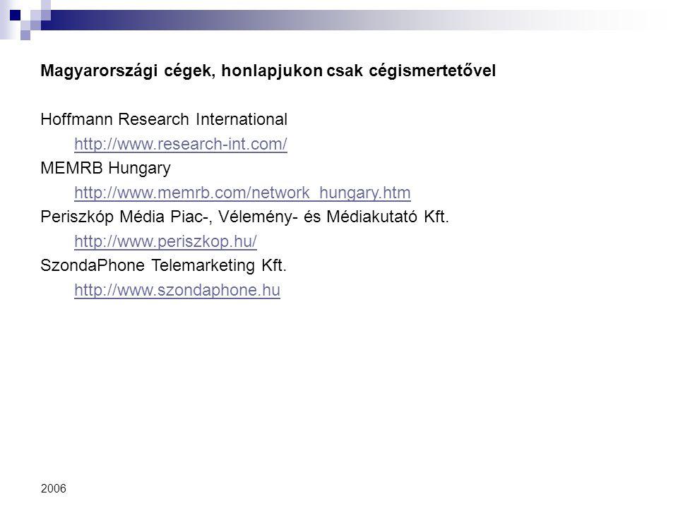 2006 Magyarországi cégek, honlapjukon csak cégismertetővel Hoffmann Research International http://www.research-int.com/ MEMRB Hungary http://www.memrb