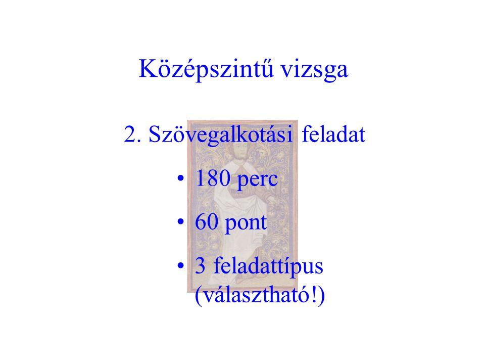 Középszintű vizsga 2. Szövegalkotási feladat 180 perc 60 pont 3 feladattípus (választható!)