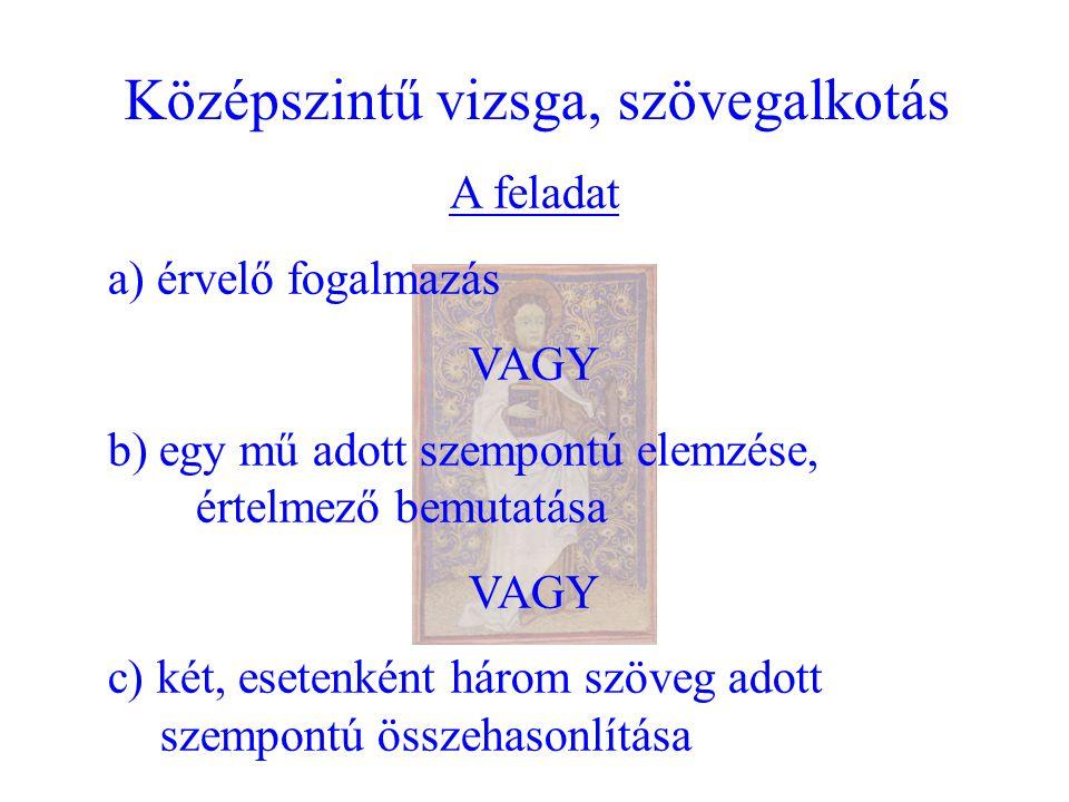 Középszintű vizsga, szövegalkotás A feladat a) érvelő fogalmazás VAGY b) egy mű adott szempontú elemzése, értelmező bemutatása VAGY c) két, esetenként három szöveg adott szempontú összehasonlítása