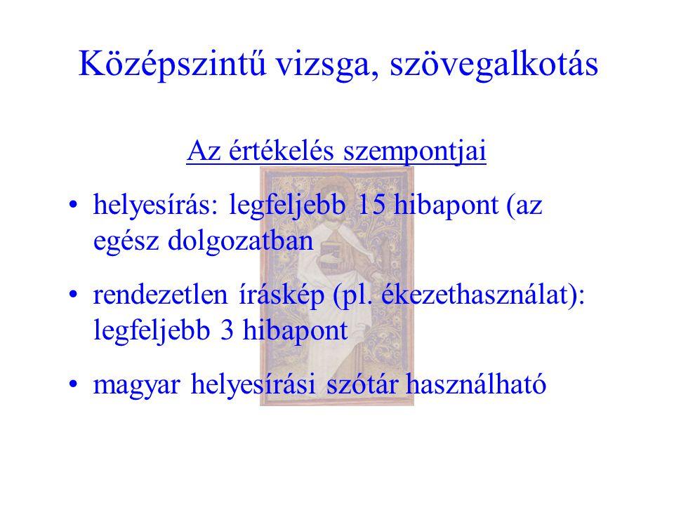 Középszintű vizsga, szövegalkotás Az értékelés szempontjai helyesírás: legfeljebb 15 hibapont (az egész dolgozatban rendezetlen íráskép (pl.