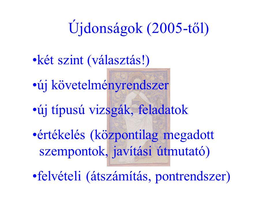 Újdonságok (2005-től) két szint (választás!) új követelményrendszer új típusú vizsgák, feladatok értékelés (központilag megadott szempontok, javítási útmutató) felvételi (átszámítás, pontrendszer)