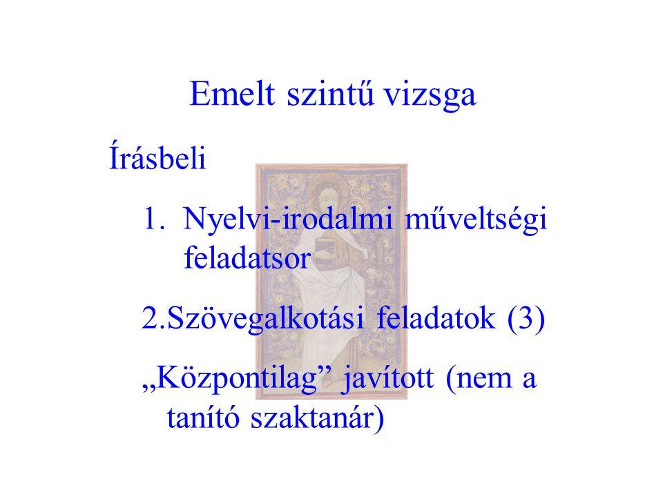 Emelt szintű vizsga Írásbeli 1.