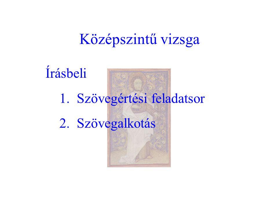Középszintű vizsga Írásbeli 1. Szövegértési feladatsor 2. Szövegalkotás