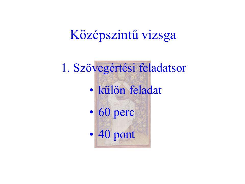 Középszintű vizsga 1. Szövegértési feladatsor külön feladat 60 perc 40 pont