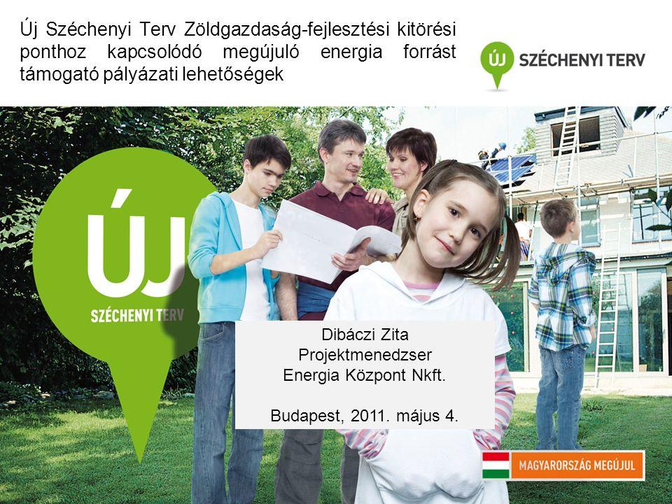 Új Széchenyi Terv Zöldgazdaság-fejlesztési kitörési ponthoz kapcsolódó megújuló energia forrást támogató pályázati lehetőségek Dibáczi Zita Projektmenedzser Energia Központ Nkft.