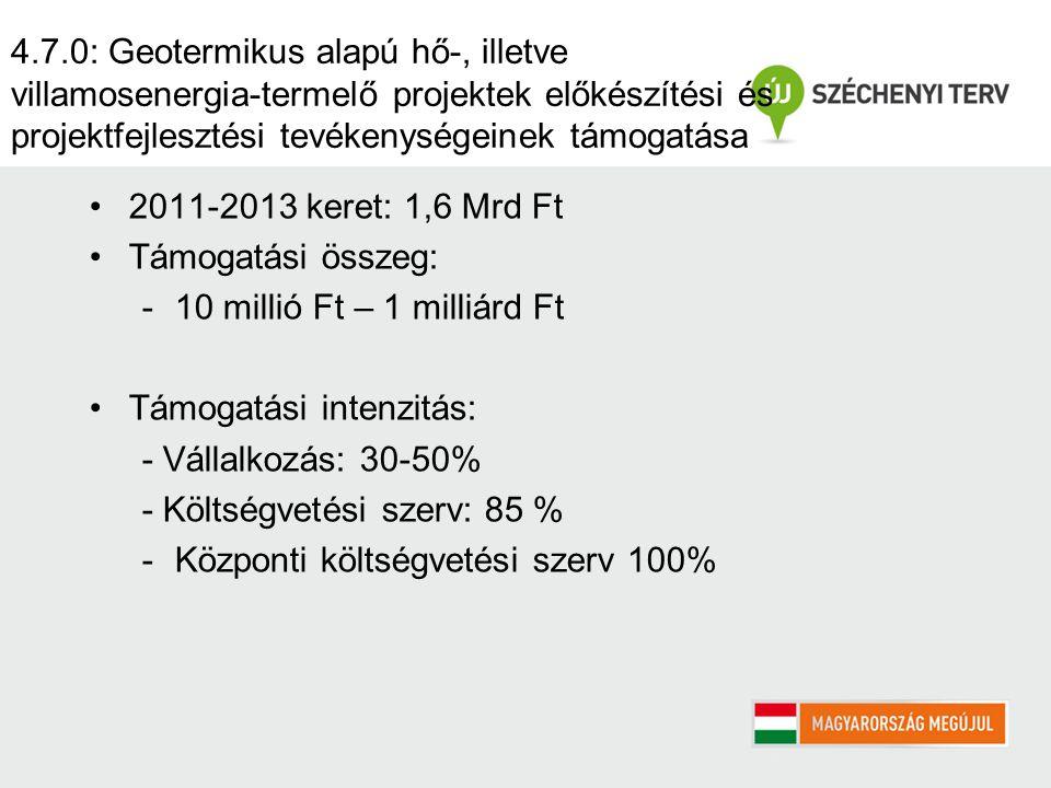 4.7.0: Geotermikus alapú hő-, illetve villamosenergia-termelő projektek előkészítési és projektfejlesztési tevékenységeinek támogatása 2011-2013 keret: 1,6 Mrd Ft Támogatási összeg: -10 millió Ft – 1 milliárd Ft Támogatási intenzitás: - Vállalkozás: 30-50% - Költségvetési szerv: 85 % -Központi költségvetési szerv 100%