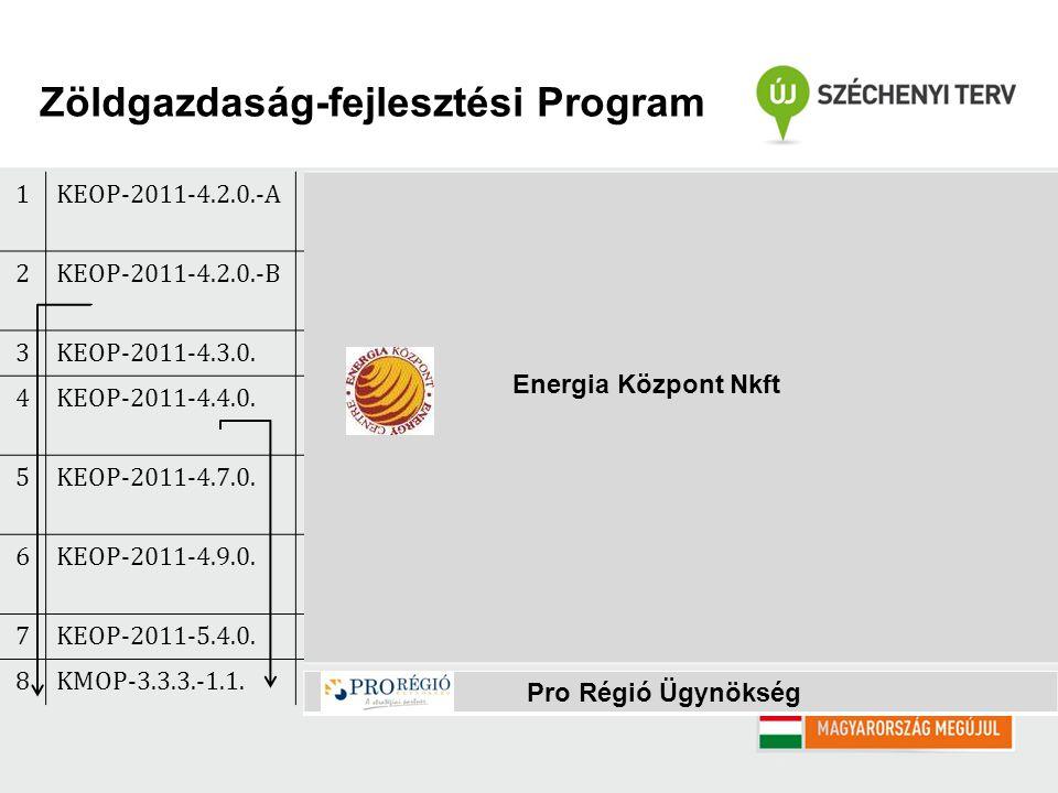 1KEOP-2011-4.2.0.-AHelyi hő, hűtési és villamos energiaigény kielégítése megújuló energiaforrásokkal 2KEOP-2011-4.2.0.-BHelyi hő- és hűtési energiaigény kielégítése megújuló energiaforrásokkal 3KEOP-2011-4.3.0.Megújuló energia alapú térségfejlesztés 4KEOP-2011-4.4.0.Megújuló energia alapú villamosenergia-, kapcsolt hő és villamosenergia-, valamint biometán termelés 5KEOP-2011-4.7.0.Geotermikus alapú hő-, illetve villamosenergia-termelő projektek előkészítési és projektfejlesztési tevékenységeinek támogatása 6KEOP-2011-4.9.0.Épületenergetikai fejlesztések megújuló energiaforrás hasznosítással kombinálva 7KEOP-2011-5.4.0.Távhő-szektor energetikai korszerűsítése 8KMOP-3.3.3.-1.1.Megújuló energiahordozó felhasználás növelése Energia Központ Nkft Pro Régió Ügynökség Zöldgazdaság-fejlesztési Program