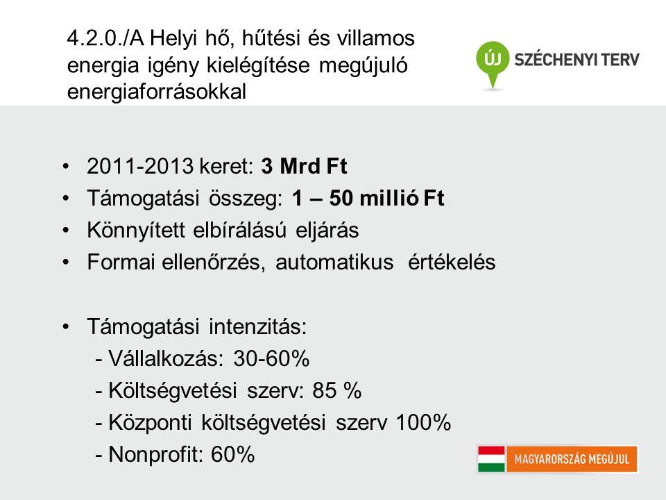 4.2.0./A Helyi hő, hűtési és villamos energia igény kielégítése megújuló energiaforrásokkal 2011-2013 keret: 3 Mrd Ft Támogatási összeg: 1 – 50 millió Ft Könnyített elbírálású eljárás Formai ellenőrzés, automatikus értékelés Támogatási intenzitás: - Vállalkozás: 30-60% - Költségvetési szerv: 85 % - Központi költségvetési szerv 100% - Nonprofit: 60%