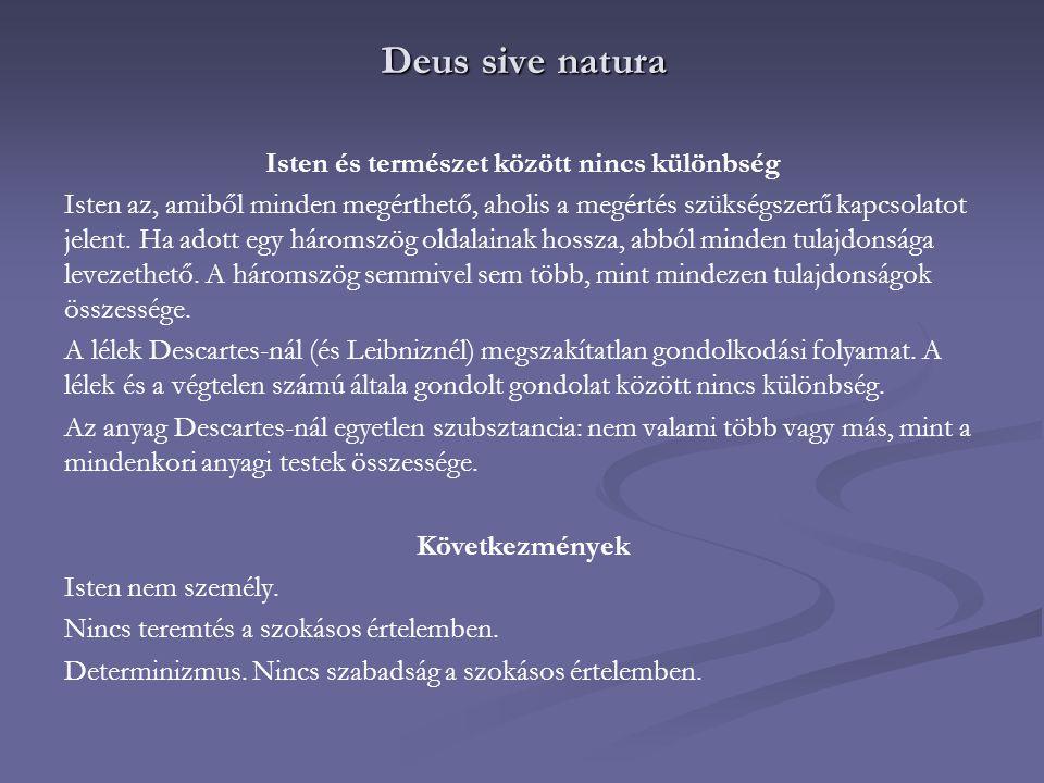 Deus sive natura Isten és természet között nincs különbség Isten az, amiből minden megérthető, aholis a megértés szükségszerű kapcsolatot jelent. Ha a