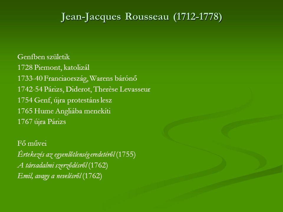Jean-Jacques Rousseau (1712-1778) Genfben születik 1728 Piemont, katolizál 1733-40 Franciaország, Warens bárónő 1742-54 Párizs, Diderot, Therèse Levas