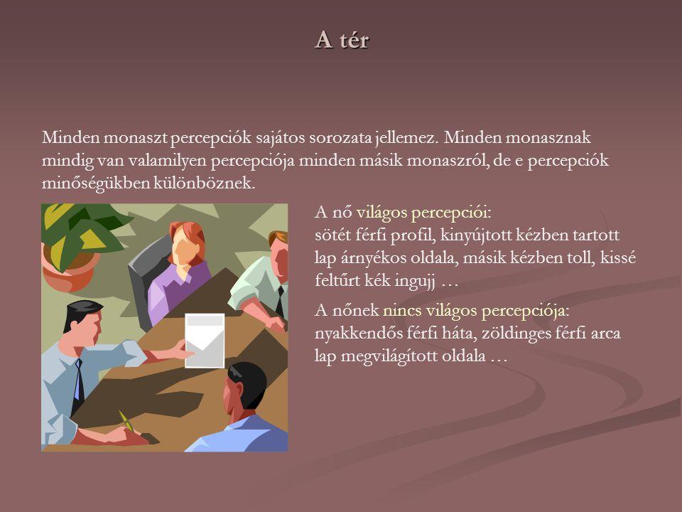 A tér Minden monaszt percepciók sajátos sorozata jellemez. Minden monasznak mindig van valamilyen percepciója minden másik monaszról, de e percepciók