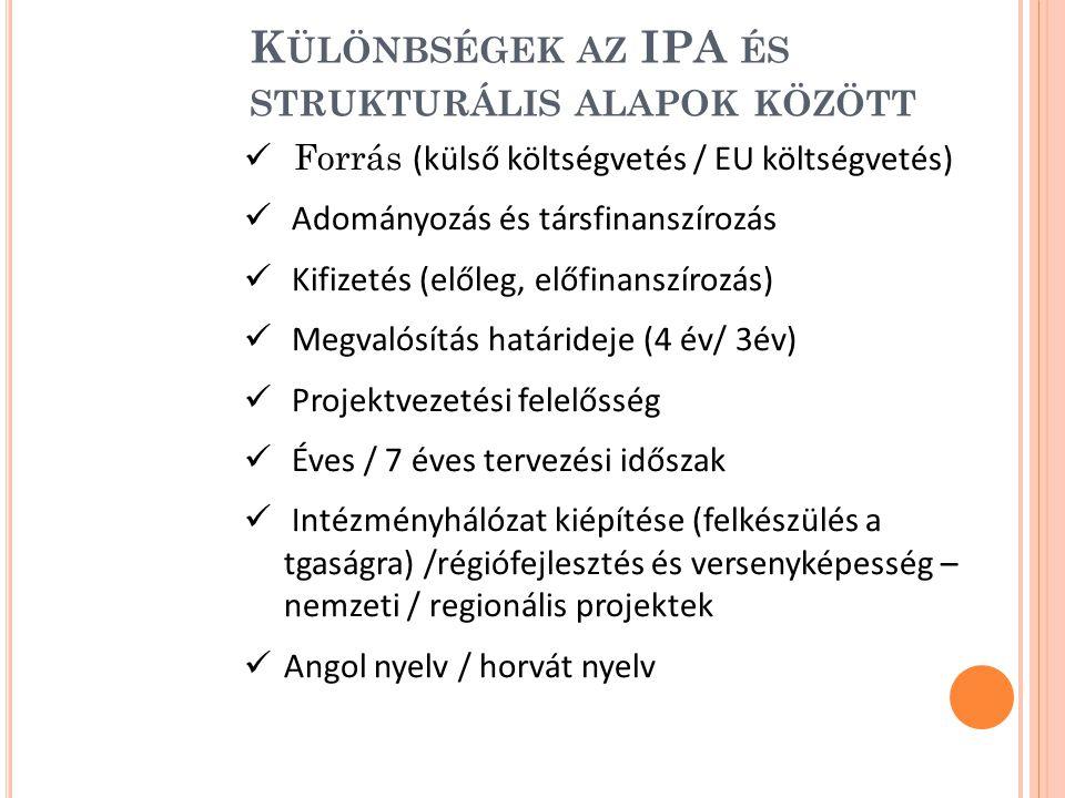 K ÜLÖNBSÉGEK AZ IPA ÉS STRUKTURÁLIS ALAPOK KÖZÖTT Forrás (külső költségvetés / EU költségvetés) Adományozás és társfinanszírozás Kifizetés (előleg, előfinanszírozás) Megvalósítás határideje (4 év/ 3év) Projektvezetési felelősség Éves / 7 éves tervezési időszak Intézményhálózat kiépítése (felkészülés a tgaságra) /régiófejlesztés és versenyképesség – nemzeti / regionális projektek Angol nyelv / horvát nyelv