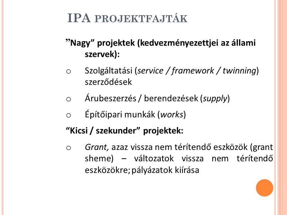 IPA PROJEKTFAJTÁK Nagy projektek (kedvezményezettjei az állami szervek): o Szolgáltatási (service / framework / twinning) szerződések o Árubeszerzés / berendezések (supply) o Építőipari munkák (works) Kicsi / szekunder projektek: o Grant, azaz vissza nem térítendő eszközök (grant sheme) – változatok vissza nem térítendő eszközökre; pályázatok kiírása