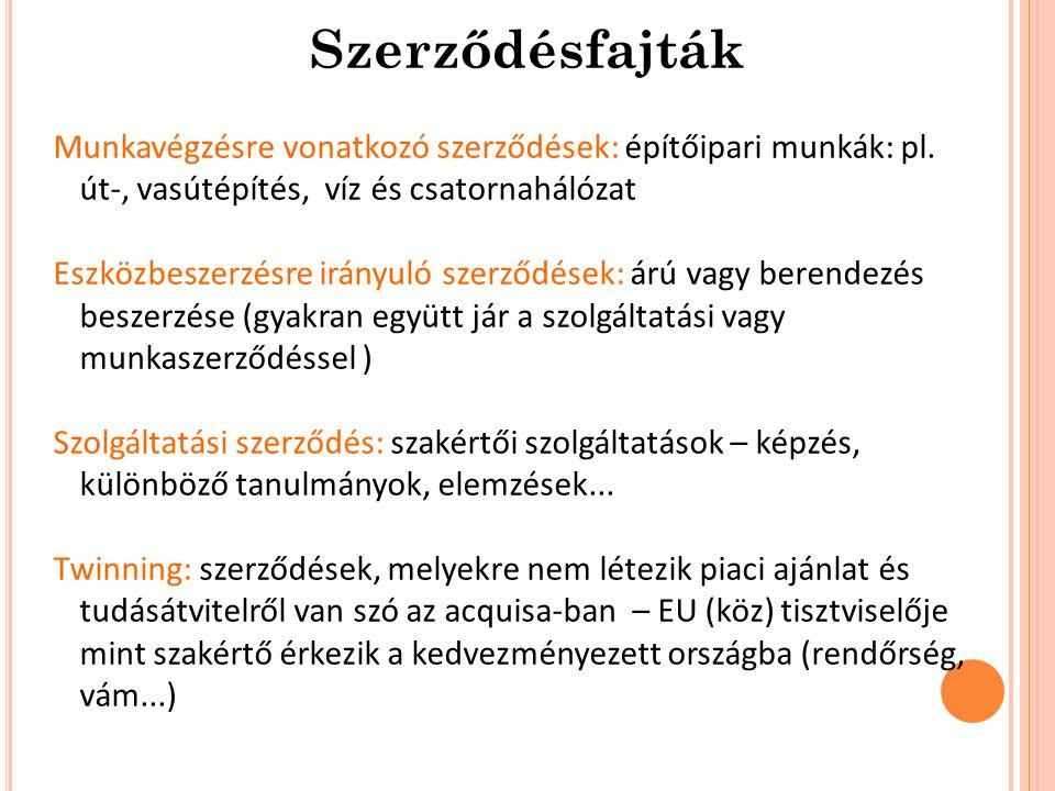 Munkavégzésre vonatkozó szerződések: építőipari munkák: pl.